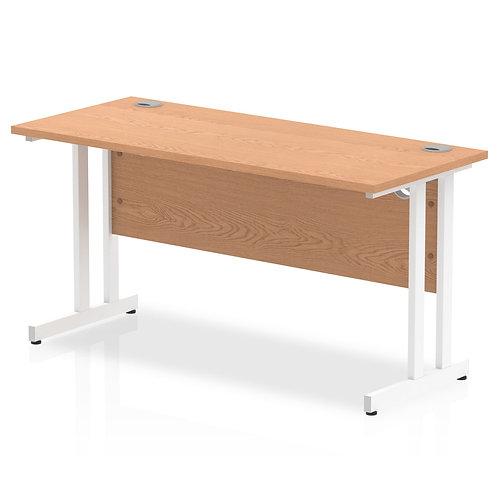 Impulse 1400/600 Rectangle White Cantilever Leg Desk Oak