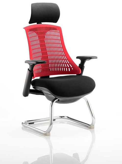 Flex Visitor Cantilever Chair Black Fabric Seat With Red Back With Headrest