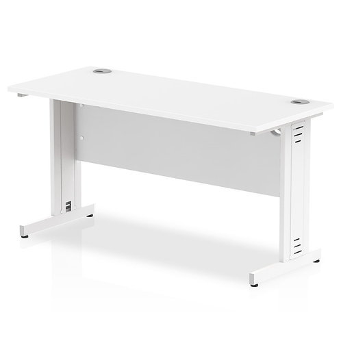 Impulse 1400/600 Rectangle White Cable Managed Leg Desk White