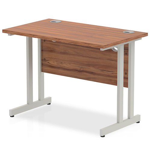 Impulse 1000/600 Rectangle Silver Cantilever Leg Desk Walnut
