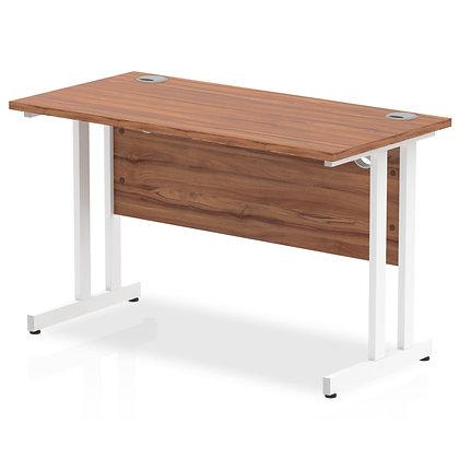 Impulse 1200/600 Rectangle White Cantilever Leg Desk Walnut