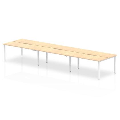 B2B White Frame Bench Desk 1400 Maple (6 Pod)