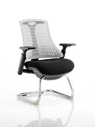 Flex Visitor Cantilever Chair Black Fabric Seat With Moonstone White