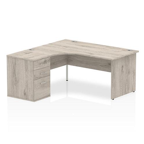 Impulse 1600 Left Hand Crescent Desk Grey Oak Panel End Leg Bundle