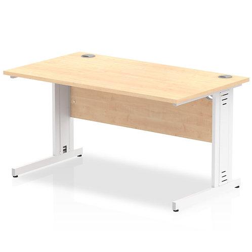 Impulse 1400/800 Rectangle White Cable Managed Leg Desk Maple