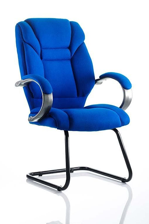Galloway Cantilever Chair Blue Fabric With Arms
