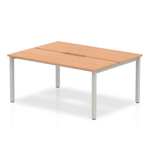 B2B Silver Frame Bench Desk 1400 Oak (2 Pod)