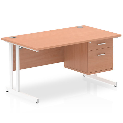 Impulse 1400 Rectangle White Cant Leg Desk Beech 1 x 2 Drawer Fixed Ped