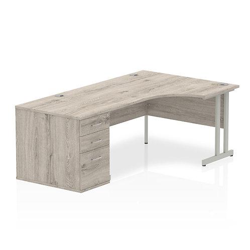 Impulse 1600mm Right Hand Crescent Desk Grey Oak Cantilever Leg Pedestal Bundle