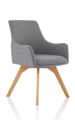 Carmen Grey Fabric Wooden Leg Chair