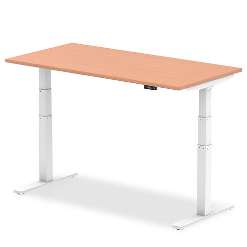 Air Beech Height Adjustable Desk With White Legs