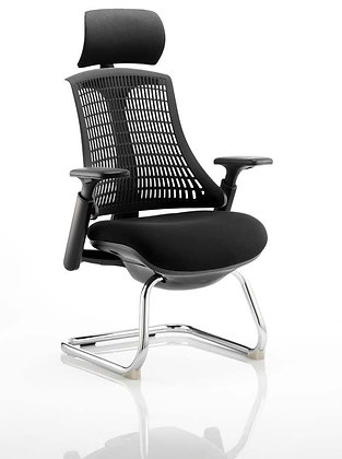 Flex Visitor Cantilever Chair Black Fabric Seat With Black Back With Headrest