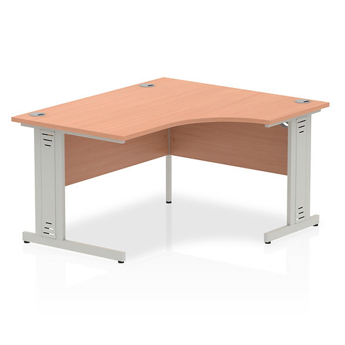 Impulse 1400 Right Hand Silver Crescent Cable Managed Leg Desk Beech
