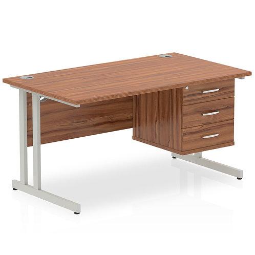 Impulse 1400 Rectangle Silver Cant Leg Desk Walnut 1 x 3 Drawer Fixed Ped