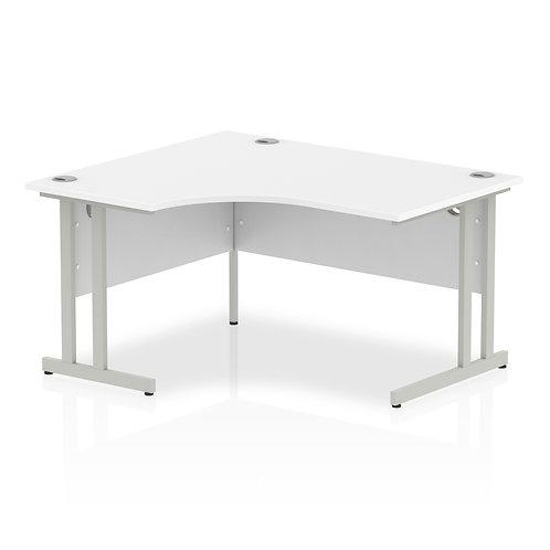 Impulse 1400 Left Hand Silver Crescent Cantilever Leg Desk White