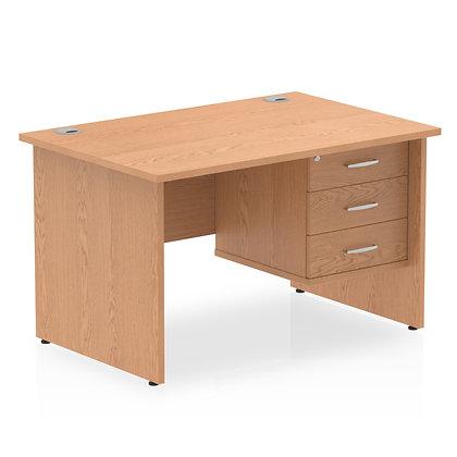 Impulse 1200 Rectangle Panel End Leg Desk Oak 1 x 3 Drawer Fixed Ped