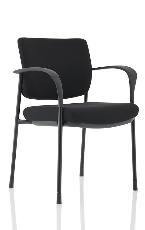 Brunswick Deluxe Black Fabric Back Black Frame With Arms