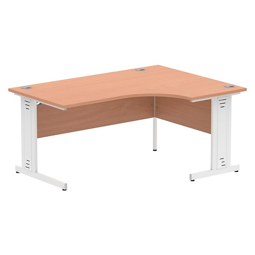 Impulse 1600 Right Hand White Crescent Cable Managed Leg Desk Beech
