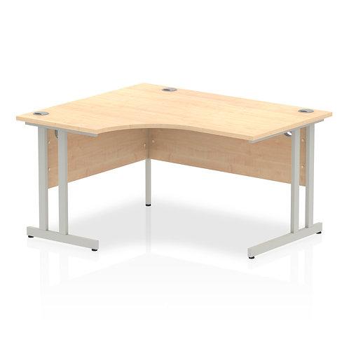 Impulse 1400 Left Hand Silver Crescent Cantilever Leg Desk Maple