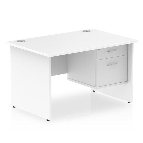 Impulse 1200 Rectangle Panel End Leg Desk White 1 x 2 Drawer Fixed Ped