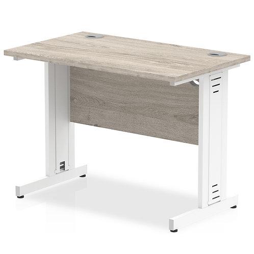 Impulse 1000/600 Rectangle White Cable Managed Leg Desk Grey Oak