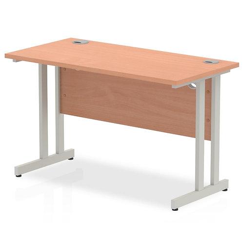 Impulse 1200/600 Rectangle Silver Cantilever Leg Desk Beech
