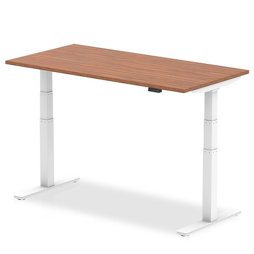 Air Walnut Height Adjustable Desk With White Legs