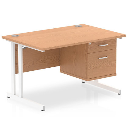 Impulse 1200 Rectangle White Cant Leg Desk Oak 1 x 2 Drawer Fixed Ped
