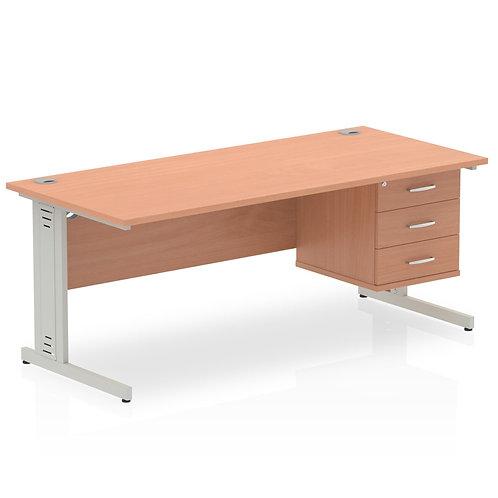 Impulse 1800 Rectangle Desk Beech 1 x 3 Drawer Fixed Ped
