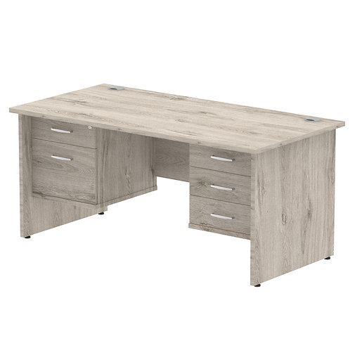 Impulse 1600 Rectangle Grey Oak 1 x 2 Drawer 1 x 3 Drawer Fixed Ped