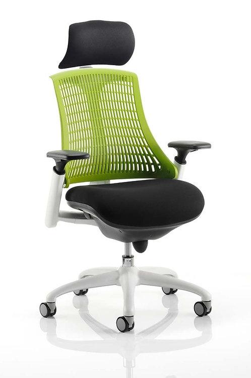 Flex Task Operator Chair White Frame Black Fabric Seat