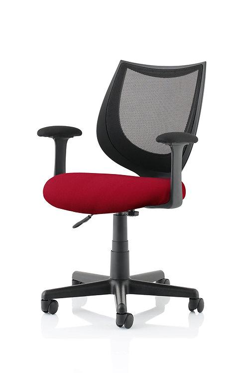 Camden Black Mesh Chair in Bespoke Seat Ginseng Chilli