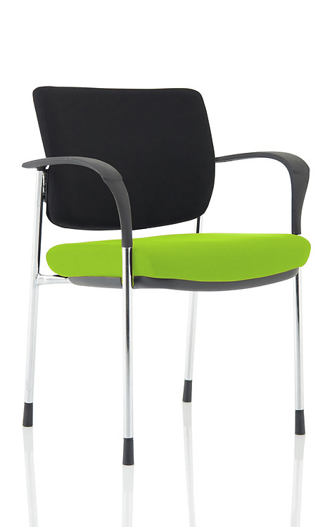 Brunswick Deluxe Black Fabric Back Chrome Frame Bespoke Colour With Arms