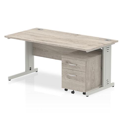 Impulse 1600 x 800mm Straight Desk Grey Oak Pedestal Bundle