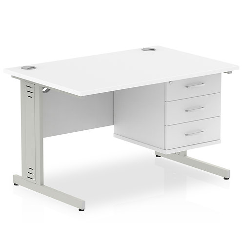 Impulse 1200 Rectangle Desk White 1 x 3 Drawer Fixed Ped