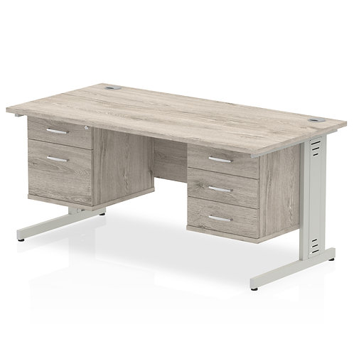 Impulse 1600 Rectangle Desk Grey Oak 1 x 2 Drawer 1 x 3 Drawer Fixed Ped