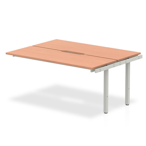 B2B Ext Kit Silver Frame Bench Desk 1200 Beech