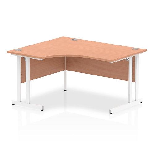 Impulse 1400 Left Hand White Crescent Cantilever Leg Desk Beech