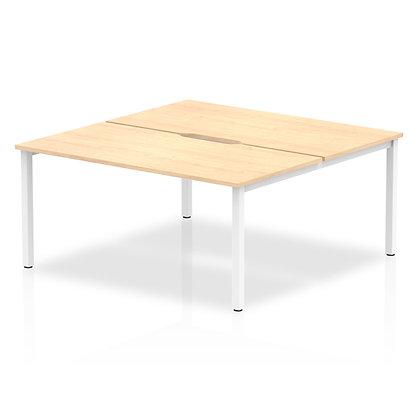 B2B White Frame Bench Desk 1600 Maple (2 Pod)