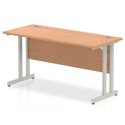 Impulse 1400/600 Rectangle Silver Cantilever Leg Desk Oak
