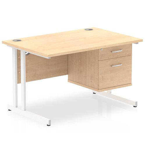 Impulse 1200 Rectangle White Cant Leg Desk Maple 1 x 2 Drawer Fixed Ped