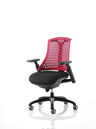 Flex Task Operator Chair Black Frame With Black Fabric Seat Red Back With Arms