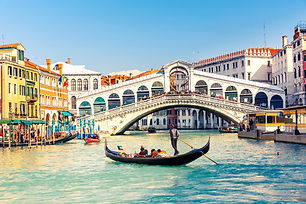Gondola near Rialto Bridge in Venice, It