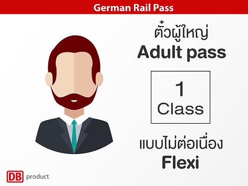 German Rail Pass / Adult Pass / 1st Class - Flexi (แบบไม่ต่อเนื่อง)