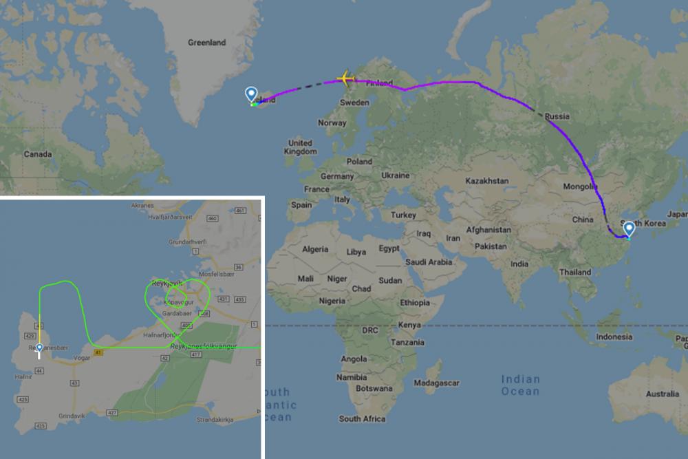 ภาพเส้นทางบินขนย้ายอุปกรณ์ทางการแพทย์จากเมืองเซี่ยงไฮ้บินสู่ประเทศไอซ์แลนด์