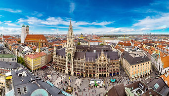 Aerial view on Marienplatz town hall and