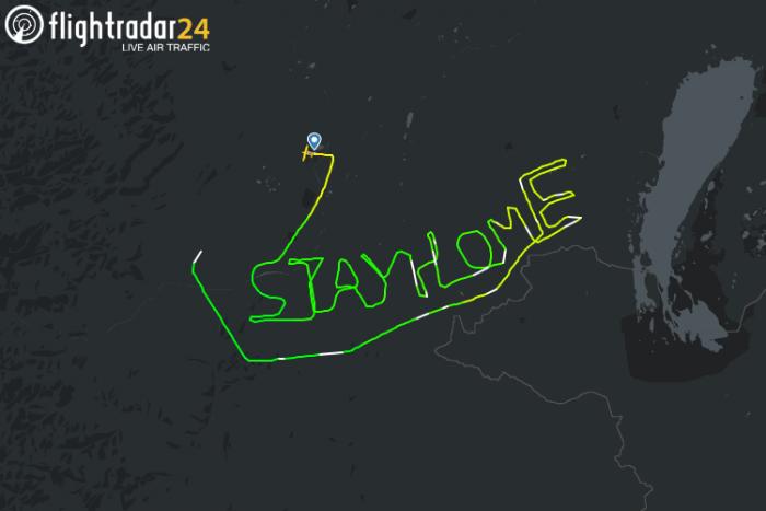 นักบินออสเตรีย แชร์ภาพเส้นทางบิน STAYHOME ช่วงกลางเดือนมีนาคมที่ผ่านมา