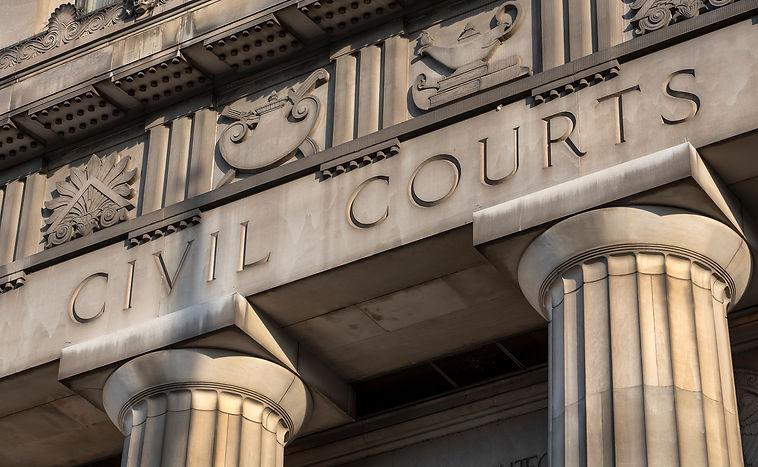 Civil Courts building, stone Greek flute