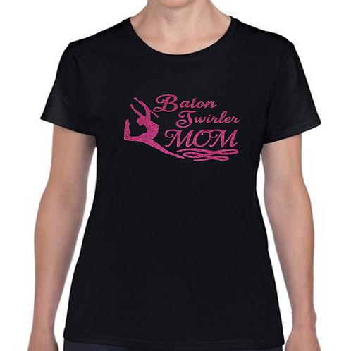 Twirler Mom -Black/Hot Pink Glitter