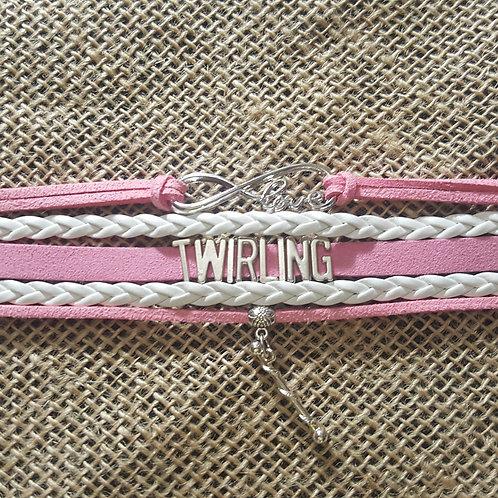 Infinity Strand Bracelet - Pink/White